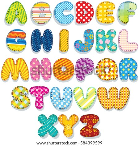 Textile Stitched Patches Font Abc. Colorful Vector Icon Set