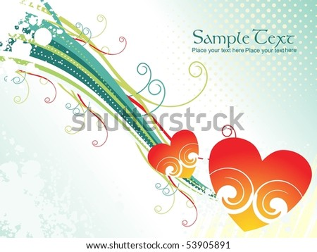 texture background with colorful stripes, romantic heart