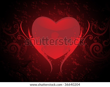texture background with red grungy heart in romantic couple