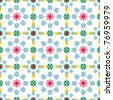 Texture design (seamless tiles) with flowers and stars in pink, red, blue, green, yellow - stock vector