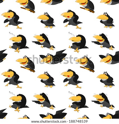 Texture of cute cartoon ravens - stock vector