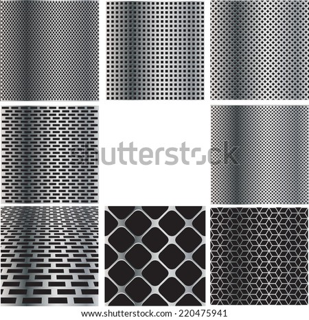 Texture of Metal Grid Collection . Steel Plate Pattern with Holes . Industrial Background Illustration .  - stock vector
