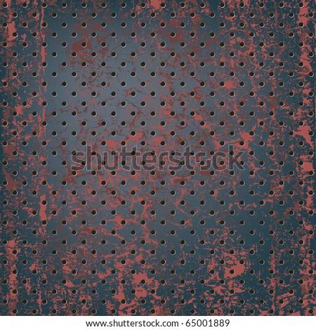 Texture of rusty metal mesh - stock vector