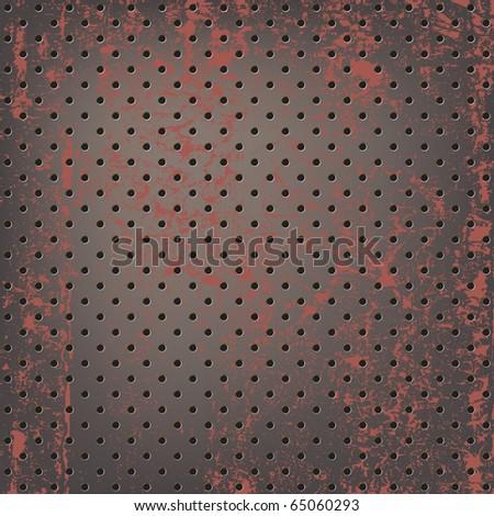 Texture of rusty metallic mesh - stock vector