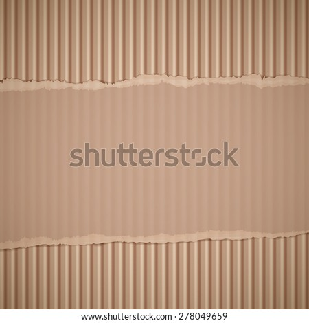 Texture of torn corrugated cardboard. Vector background. - stock vector