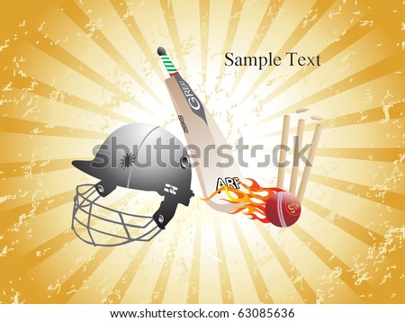 texture rays background with cricket match object - stock vector