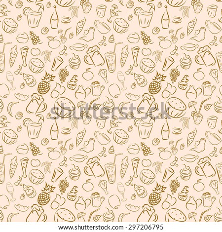 Texture seamless. Doodles cocktails and desserts, fruits,coffee,alcohol, bar, drink. Texture for bars, cafe or restaurant in sketch. Vector ice cream, juice, tea and beer. Light brown color - stock vector
