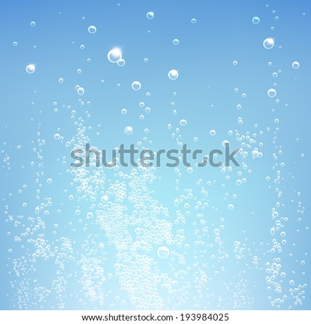 texture water with bubbles on a blue background - stock vector