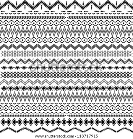Texture with geometrical ornaments - black & white - stock vector