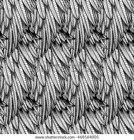 Textured bird's wings (feathers). Seamless pattern.