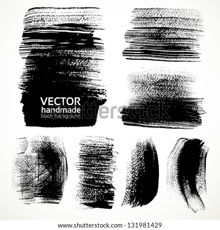 Textured brush strokes brush and ink - stock vector