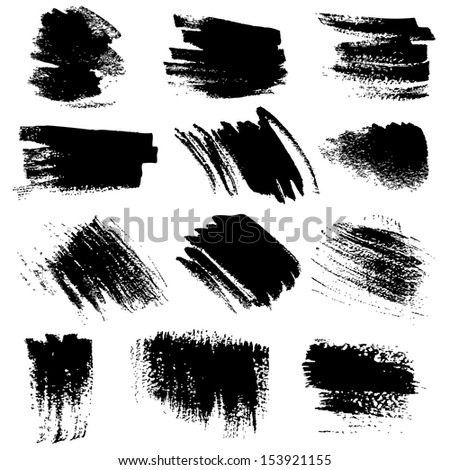 Textured brush strokes drawn a flat brush and ink  set 5 - stock vector