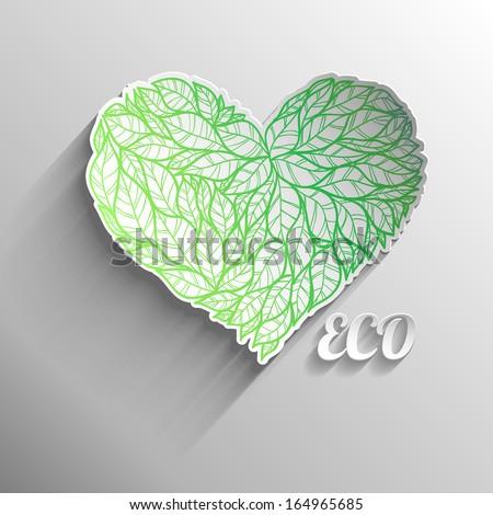 Textured eco heart. - stock vector