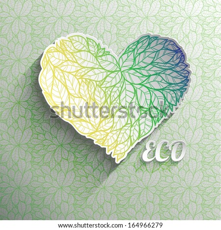 Textured eco heart. - stock vector