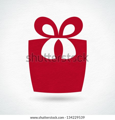 Textured gift box, can be used as logo - stock vector