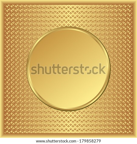 textured golden background with round banner - stock vector