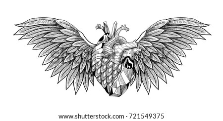 Textured heart with wings. Detailed illustration. Can be used as print, tattoo, card, poster etc