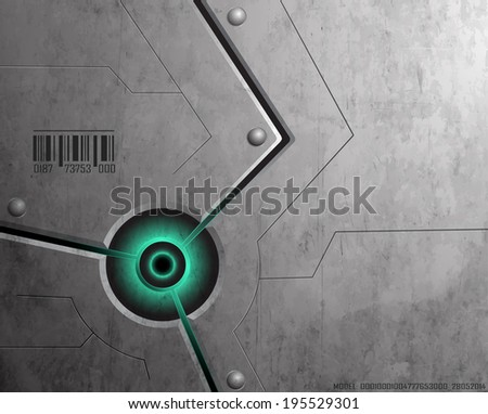 Textured metal panels joined by rivets. Vector Graphics. - stock vector
