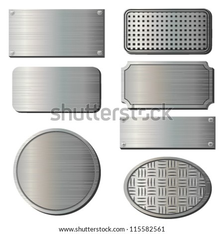 Textured metal plates - stock vector