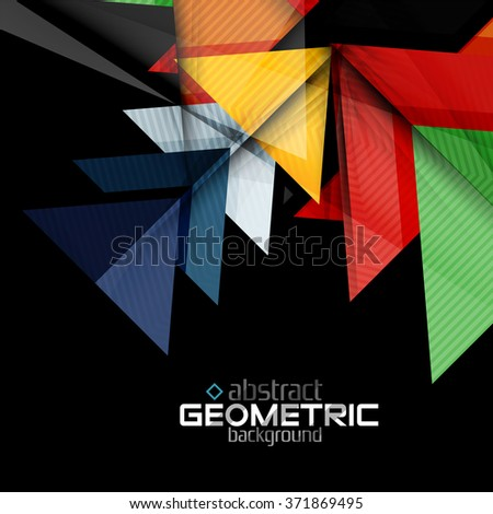 Textured paper geometric shapes on black