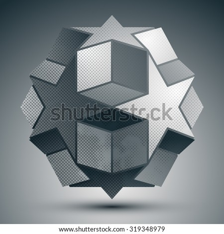 Textured plastic extraordinary spherical object with flashes, pixilated globe created from star shapes and cubes. - stock vector