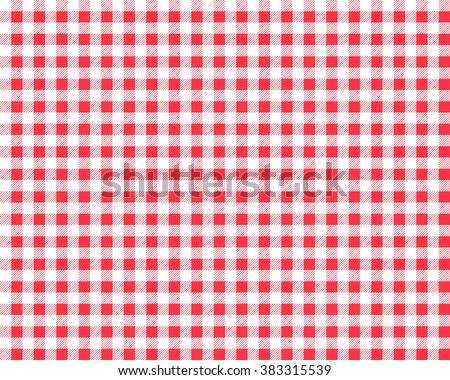 Textured red and white plaid vector background. The pattern for textiles. Background for food.  chequered - stock vector