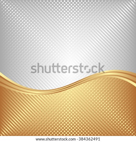 textured shiny metallic silver and gold mesh background divided in two - stock vector