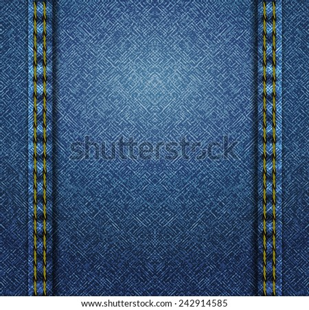 Textured striped blue jeans denim linen fabric background. Vector illustration. - stock vector