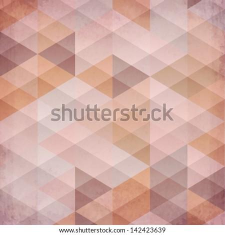 Textured vintage beige vector triangles background - stock vector