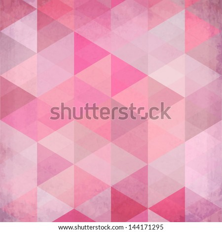 Textured vintage pink vector triangles background - stock vector