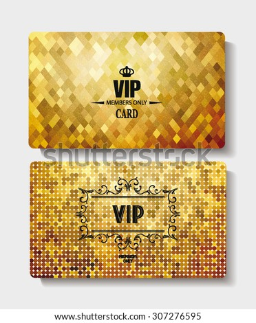 Textured VIP gold cards - stock vector
