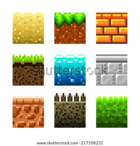 Textures for platformers pixel art photo-realistic vector set - stock vector