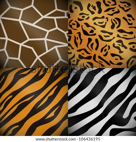 Textures of the safari animals - stock vector