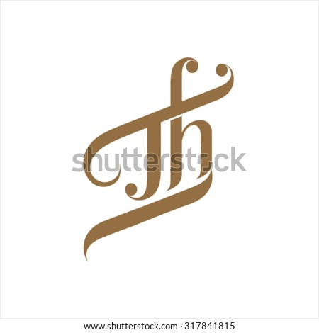 TH letters joint in one organic design  - stock vector