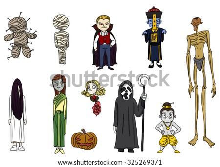 Thai and international ghost, halloween day, Funny cartoon classic halloween monster characters