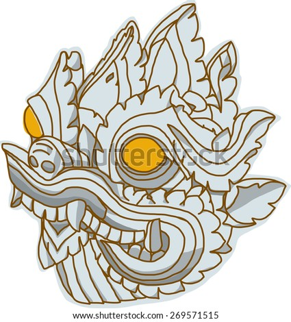 Thai Art Dragon head, Singha, vector - stock vector