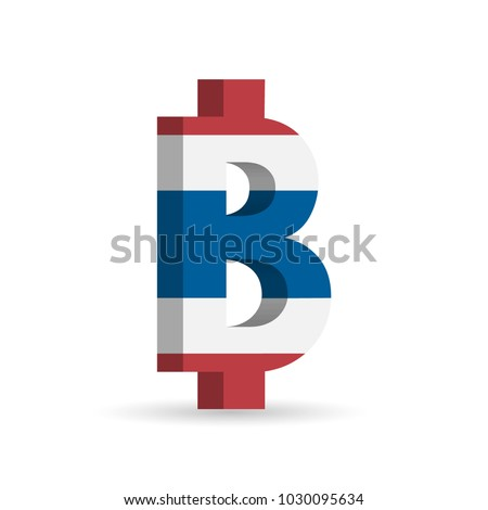 Thai Baht Thb Currency Symbol Flag Stock Vector 2018 1030095634