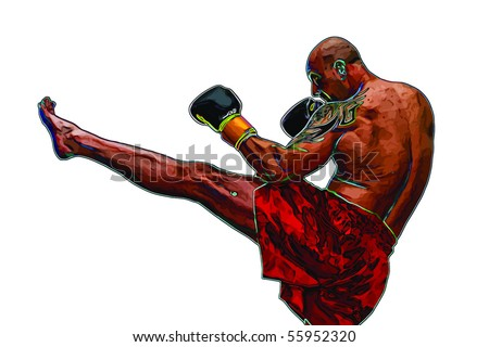 thai boxer - stock vector