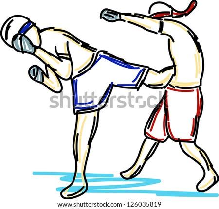 thai boxing collection - stock vector