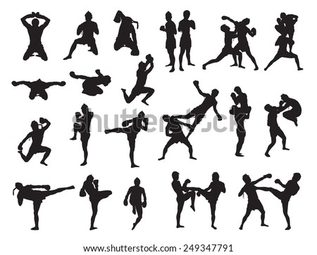Thai Boxing fight traditional dance before fight, Vector illustration - stock vector