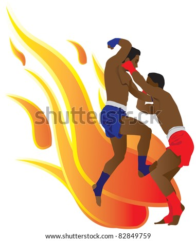Thai boxing in flames background - stock vector