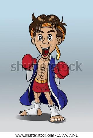 Thai boxing Muay Thai - stock vector