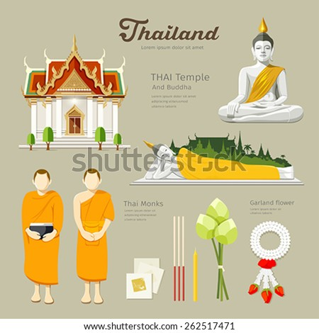 Thai Buddha and Temple with monks, lotus,flower,candle design background, vector illustration - stock vector