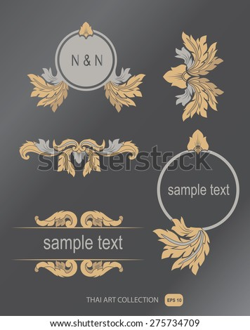 THAI collection of calligraphic design elements and page decorate - stock vector