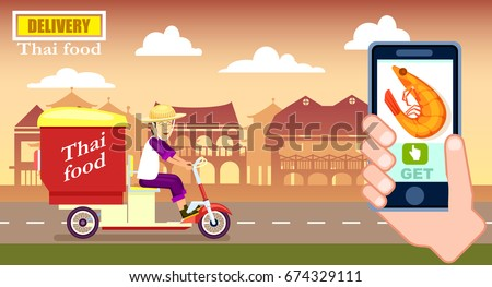 Thai Fast Food Delivery Poster Courier Stock Vector ...