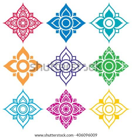 Thai folk art pattern - flower shape   - stock vector