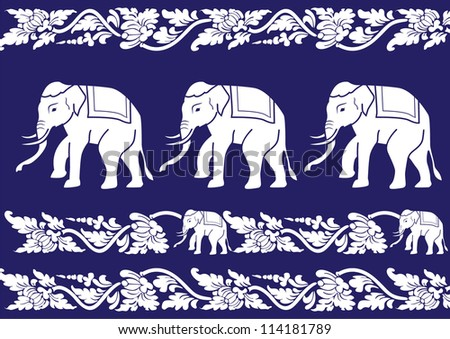 Thai Elephant Pattern Thai Pattern Vector Stock