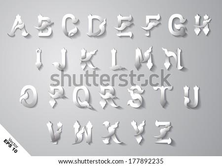 thai style font alphabet - stock vector