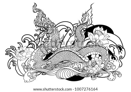 Thai Traditional Tattoo Design Naga King Stock Vector