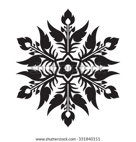 Thai Vintage Line Art Design Snowflake Vector for Christmas and New Year Decoration